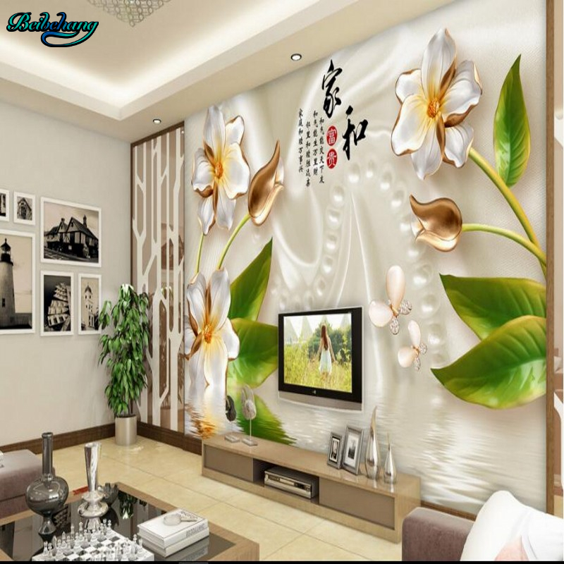 Beibehang Large Custom 3D Stereo Silk Rose Home And Rich