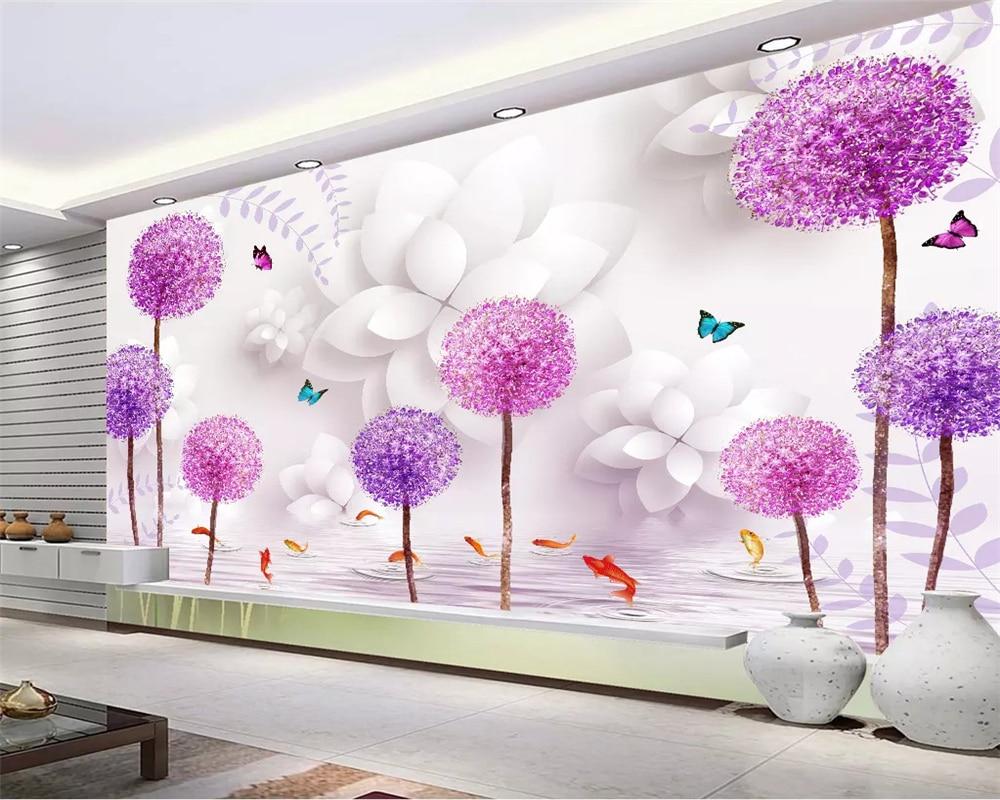 Beibehang Tiga Dimensi Klasik Estetika Wallpaper Bunga Ungu Dandelion Refleksi Air 3D TV Latar Belakang Kertas