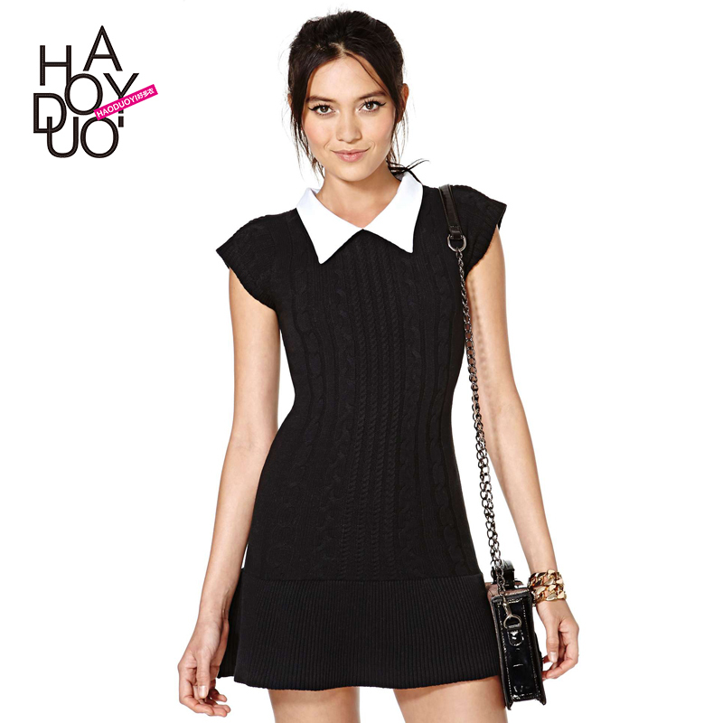 collar knit hem stitching small rotator cuff twist Short sleeve Slim dress - Fashion girl' store