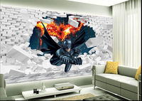 Custom Papel DE Parede Infantil 3d Batman To Break The Wall For Boys And Girls Bedroom