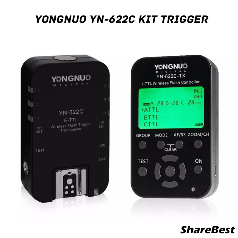 Yongnuo YN622 C kit 1x YN622C TX 1x YN622C RX E TTL LCD wireless flash controller