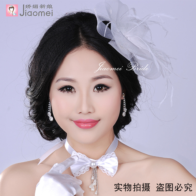 sweetday Free shipping sinamay fascinator hats hight quality bridal veils party hat with feather