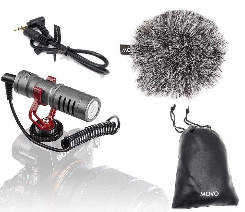 Movo VXR10GY Universal Video Microphone with Shock Mount Windscreen for Smartphones Canon EOS Nikon DSLR ameras