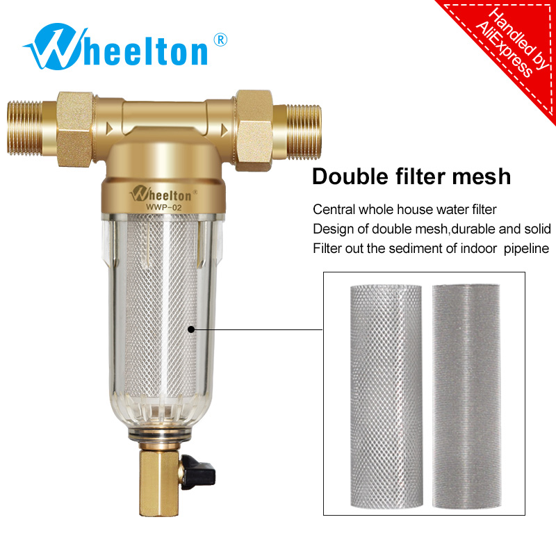Prefilter water filter First step of water purifier system 59 brass 40micron stainless steel mesh prefiltro