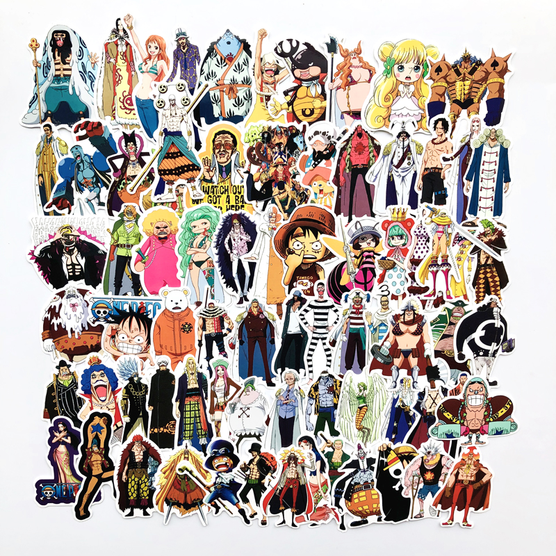 70 Pcs/Lot Anime ONE PIECE Luffy Stickers For Car Laptop PVC Backpack Home Decal Pad Bicycle PS4 Suitcase Waterproof Decal