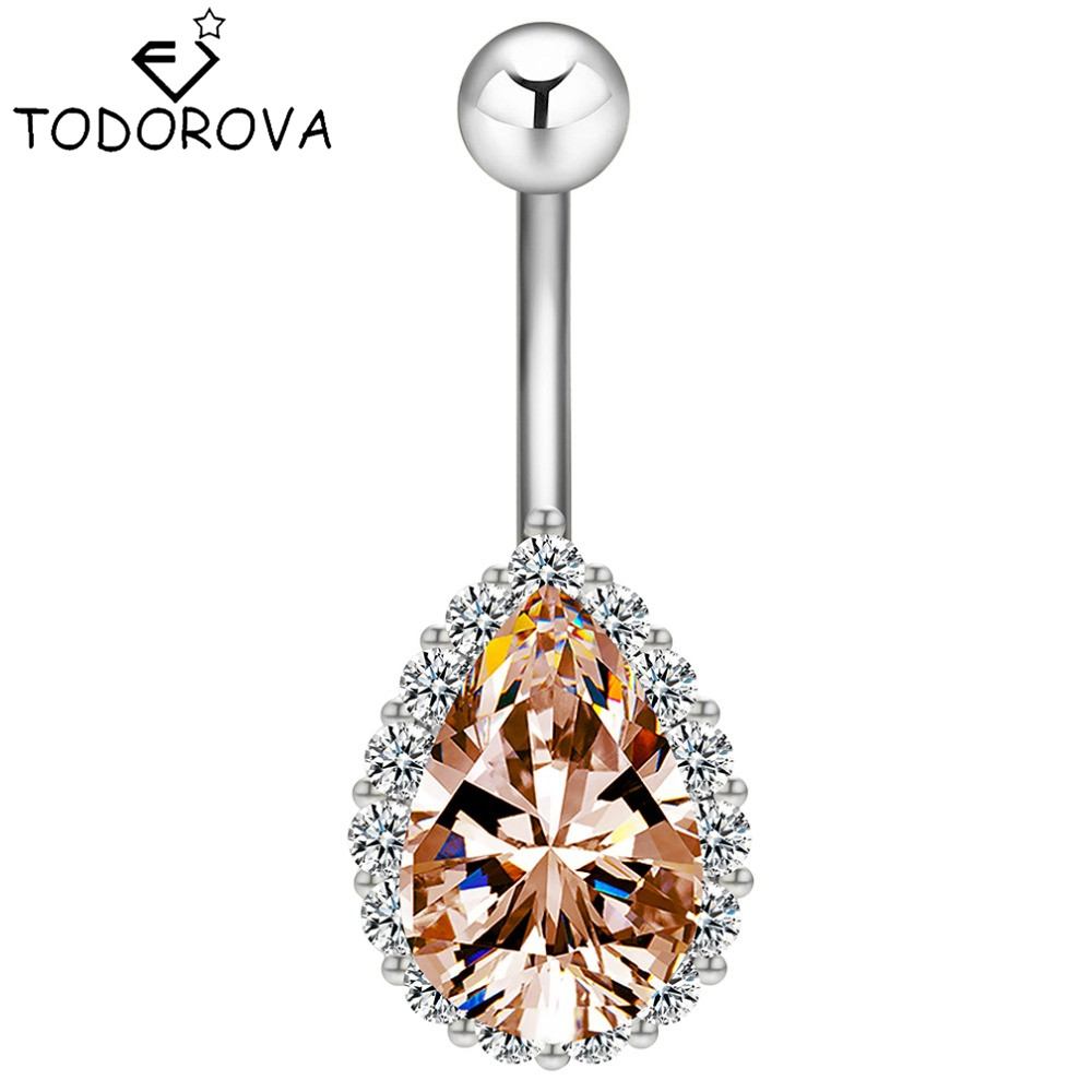Todorova Fashion Water Drop Zircon Pępek Piercing ze stali nierdzewnej Belly Button Rings Body Jewelry dla kobiet