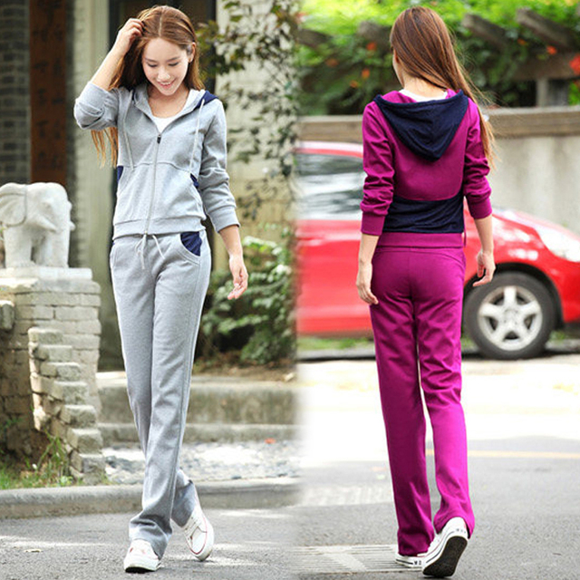Plus Size 2017 Microfiber Autumn women full hooded sportwear suits sets femininos elastic waist patchwork sets 2pcs tights sets