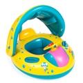 Segurança do bebê infantil de natação bóia inflável guarda sol ajustável assento barco anel de natação piscina