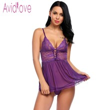 Avidlove Erotic Lingerie Sex Clothes Sexy Lingerie Women Mini Babydoll Set Lace Patchwork Nightwear With G-string Sex Products