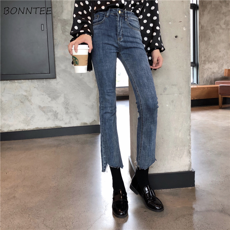 Jeans Women 2019 New Trendy Korean Style Simple All-match Solid Womens Flare Ankle-length Skinny Casual Chic Irregular Hot Sale