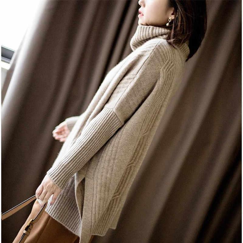 Bareskiy 새로운 높은 칼라 캐시미어 스웨터 여성 단색 긴 느슨한 재킷 봄과 가을 스트레치 니트 스웨터 여성