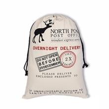 5pcs/lot Creative Deer Drawstring Canvas Santa Sack Rustic Vintage Christmas Gift Bag Decoration