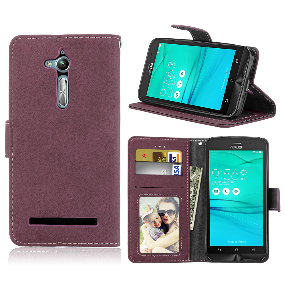 Wallet Case For ASUS Zenfone GO TV ZB500KL ZB500KG Flip Cover Matte 3 Card Leather Stand Holder Cases For ASUS GO zb500kl Shells