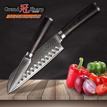 Kitchen Knives Sets 2 pcs Santoku Paring Knife Set vg10 Japanese Damascus Steel Chef Knives 67 lauyers Cooking Tools Gift Box