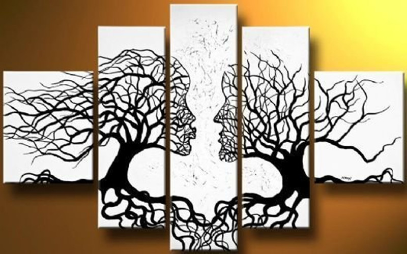 Hand Painted Canvas Oil Painting Modern Abstract Black Tree Figure Paintings Acrylic White Wall Art Home