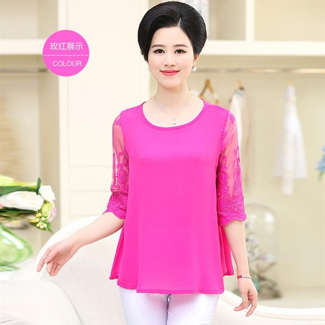 625fa75f5d936 Middle-aged and old women s summer wear sleeves chiffon unlined upper  garment of loose t-shirts PXOS25HP