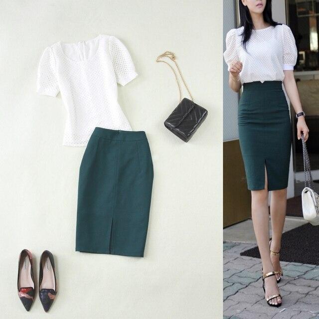2019 mulheres verão novo estilo terno das senhoras lace oco pequeno camisa branca verde escuro saco hip saia lápis dois- piece set