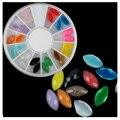 24 Pcs Ágata Pedra de Acrílico 3D Nail Art Decoração Pedrinhas roda Unhas Dicas Decoração Manicure Ferramenta para Nail Gel UV polonês