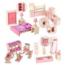 Leadingstar новый 1: 87 на продажу деревянный кукольный домик мебель ванная комната детская комната спальня кухня набор блоков toys for дети