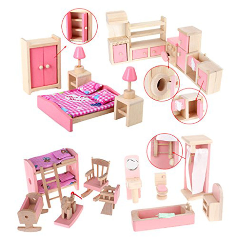new 187 on sale wooden dollhouse furniture set bathroom kid room bedroom kitchen set cheap wooden dollhouse furniture