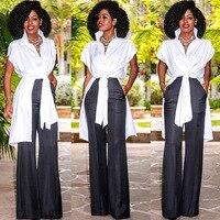 MAYFULL New Fashion Women Irregular Band Turn Down Collar Short Sleeve Shirt Lady White Long Office