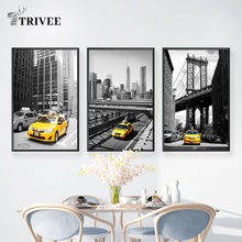 Yellow Car Black White Canvas Printing Posters And Prints Modern Architecture Building Landscape Wall Decor Picture For Office