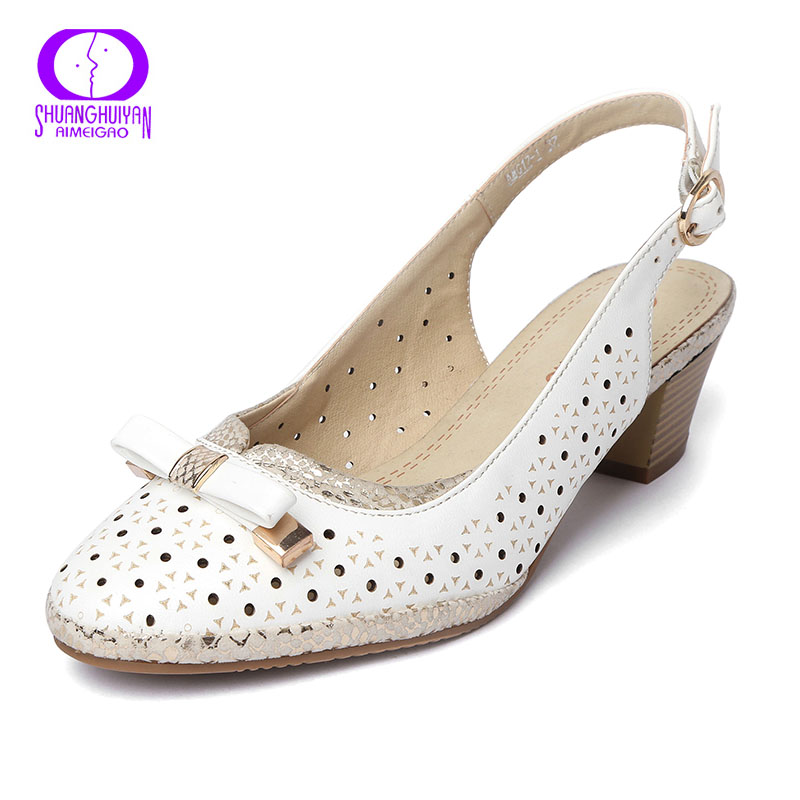 AIMEIGAO High Quality Buckle Strap Sandals Slingbacks Heel Women Shoes Soft Leather Women White Sandals Comfortable Zapatos