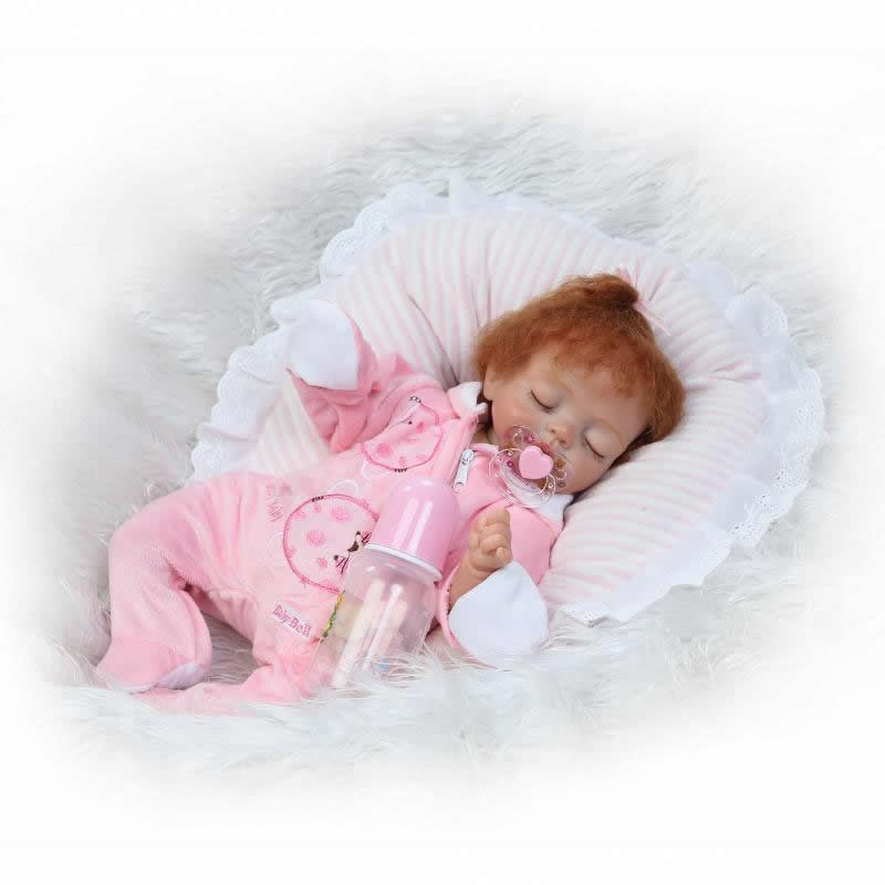 17''Soft Silicone Sleeping Girl Model with Curved Hair Real Like Reborn Baby Doll Cosplay Rabbit Bonecas Dolls Toy For kids Gift handmade chinese ancient doll tang beauty princess pingyang 1 6 bjd dolls 12 jointed doll toy for girl christmas gift brinquedo