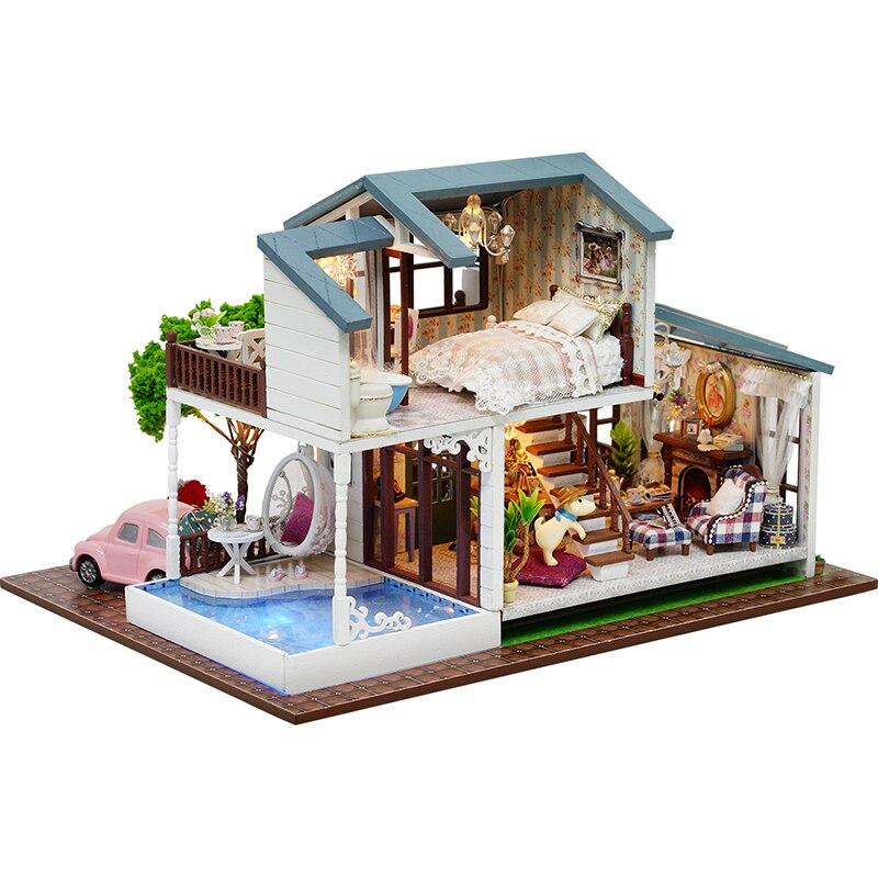 Assembler bricolage maison de poupée jouet en bois Miniatura maisons de poupée Miniature maison de poupée jouets avec des meubles LED lumières cadeau d'anniversaire A039