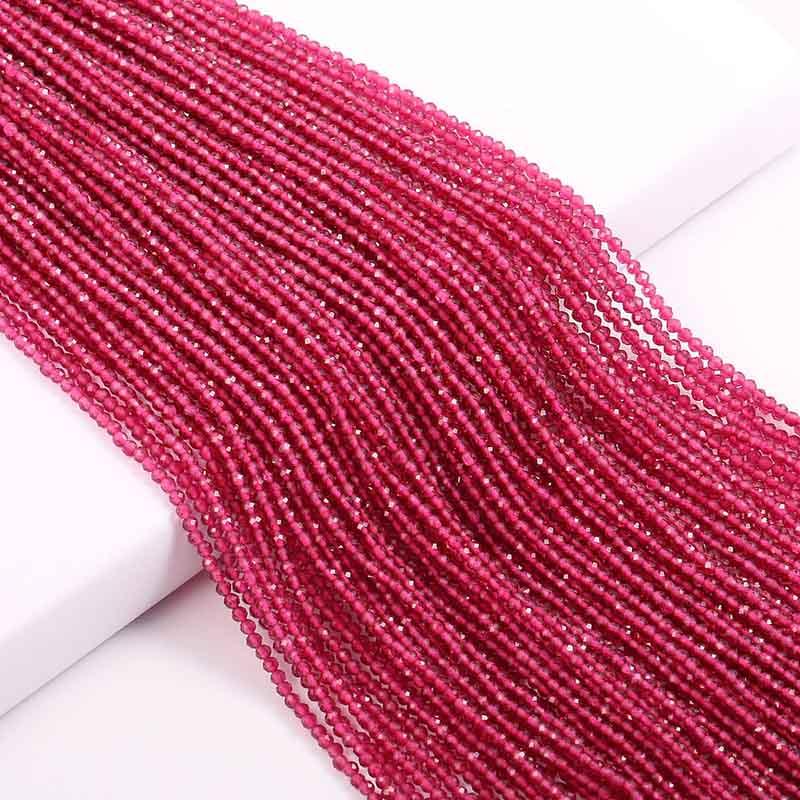 Маленькие бусины из натурального камня изумруды 2 3 мм сечение свободные бусины для изготовления ювелирных изделий ожерелье DIY браслет - Цвет: Synthetic Ruby1