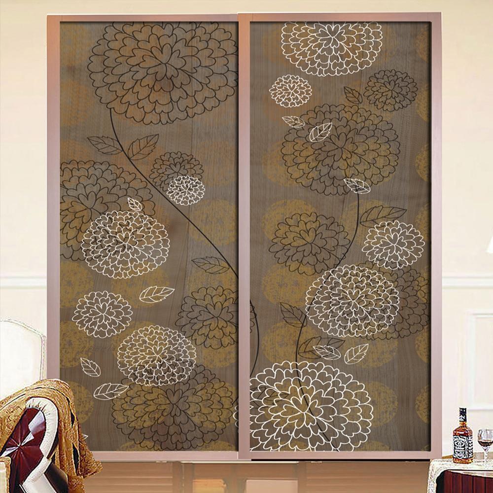 yazi customized size retro flower pvc closet sliding door cover wallpaper window glass film wall sticker