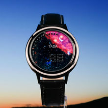 Creative personality fashion moon blue ball LED font b watch b font leather strap men font