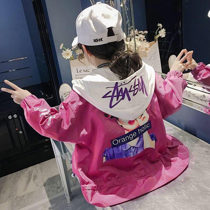 Детская бейсбольная куртка для девочек, осенняя спортивная одежда, розовая ветровка, корейский Тренч, одежда для 4, 5, 6, 7, 8, 9, 10, 11, 12 лет