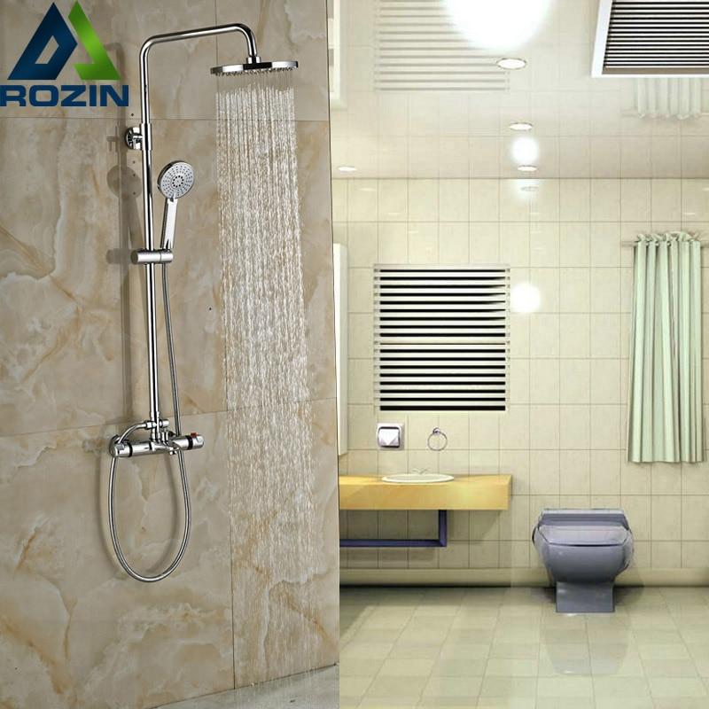 ᗖLuxury Chrome Bathroom Thermostatic Shower Valve Dual Handle Bath ...