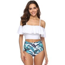 Sexy Bandeau Swimwear Bikini Set 2019 Beachwear Retro High Waist Swimsuit Push Up Ruffled Off The Shoulder Bathing Suit Tankini