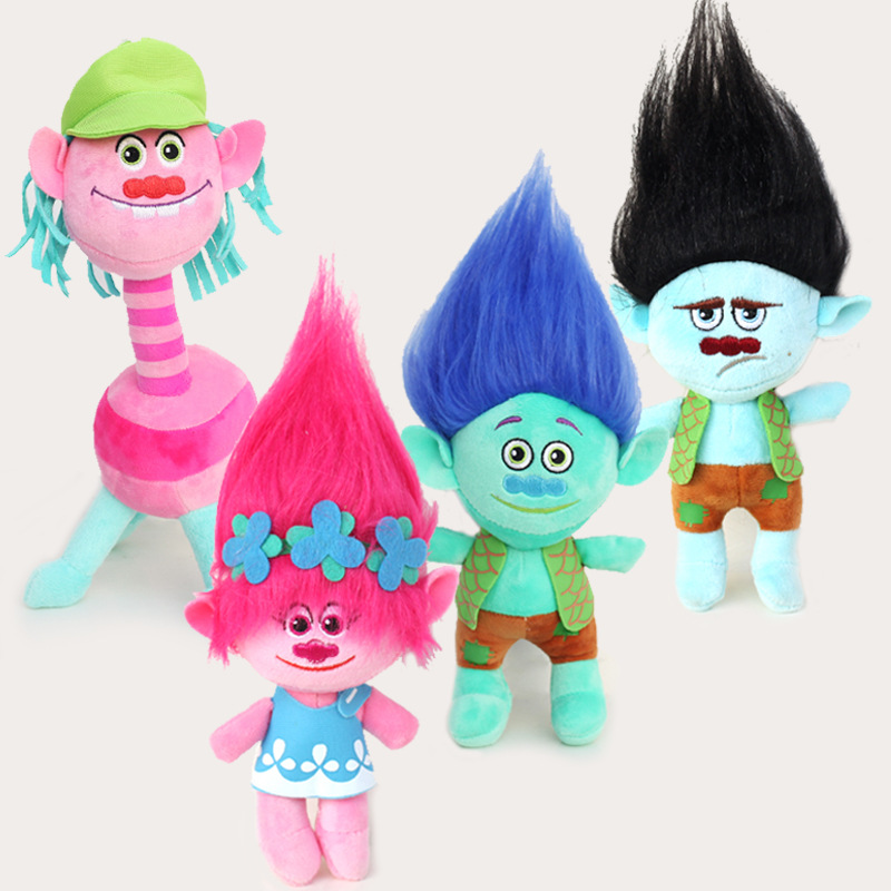 Hot Movie Trolls Pp Cotton Short Plush Doll for Kids Toys Red Green Black Magic Hair Elves Bobby Brancey Trolls Gift for Child