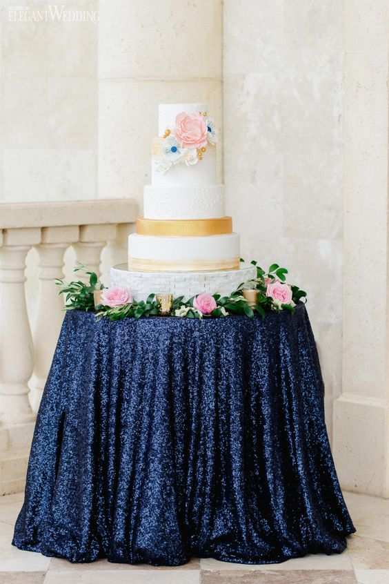 Navy Blue Sequin Tablecloth 132 inch Round, Navy Blue Wedding ...