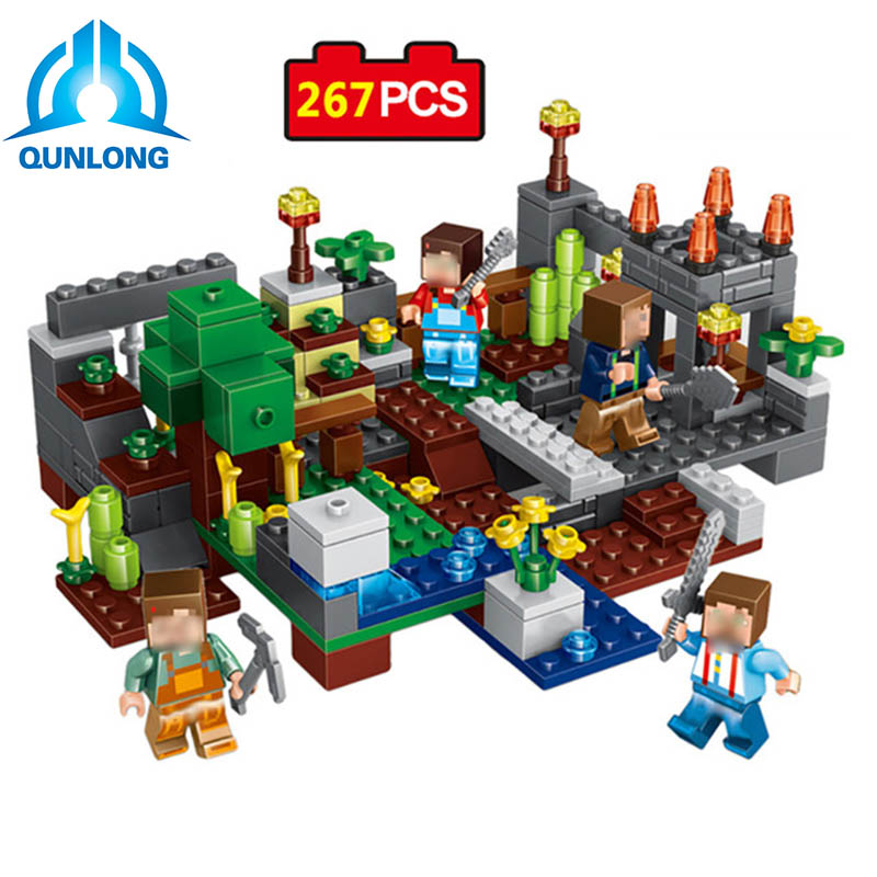 Qunlong 267Pcs 4In1 Town Guardians Cube World Educational DIY Building Blocks Compatible Block Minecraftd Toy For Kids Gift
