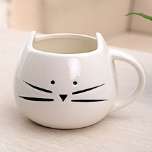 Coffee Cup Black Cat Animal Milk Ceramic Lovers Mug Cute Birthday gift,Christmas Gift(White)