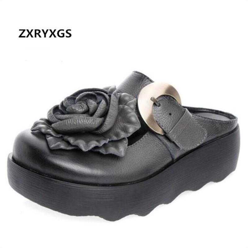 ZXRYXGS Brand Shoes Flower Fashion Sandals Slippers Women Shoes Full Genuine Leather Sandals Platform Shoes Summer