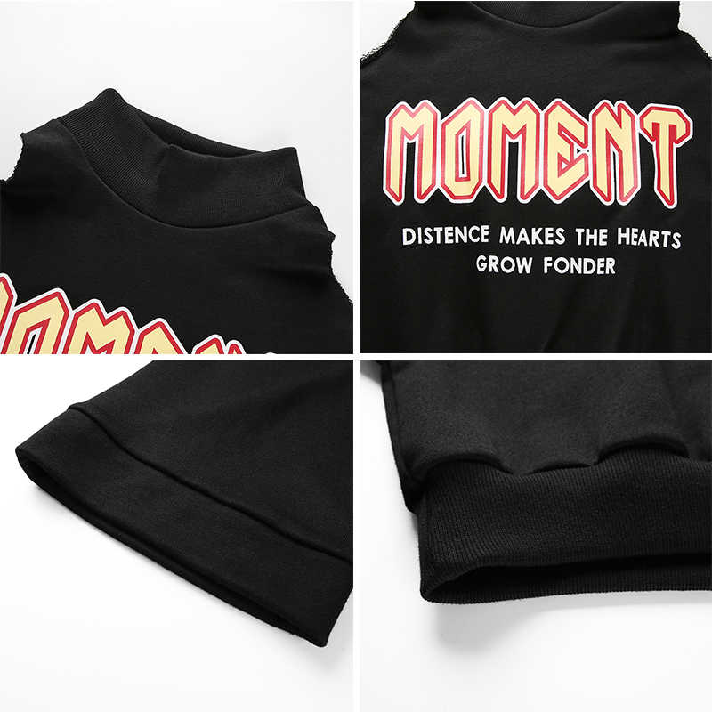Rockmore Off Shoulder Sexy Hooded Hoodies Women Sweatshirt Plus Size Letter Print Long Sleeve Turtleneck Crop Tops Sweat Hoodies