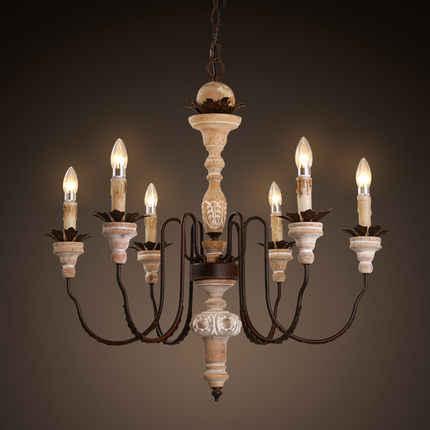 Винтажный светодиодный светильник-люстра в виде свечи, светильники, внутреннее освещение для гостиной, столовой, железная деревянная Подвесная лампа, подвесной светильник