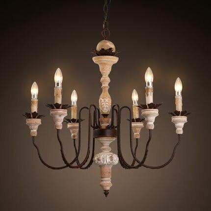 Amercian Vintage Candle LED Chandelier Light Fixtures Indoor Lighting For  Living Dining Room Iron Wood Hanging