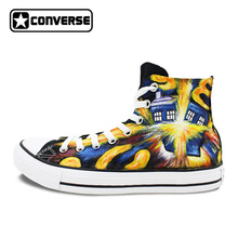 Athletic Sneakers Converse All Star Design Custom Hand Painted Police Box Canvas Shoes High Top for Gifts