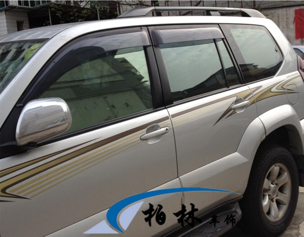 JINGHANG 4 pièces Chrome Fenêtre Visière Déflecteur Bouclier de Pluie de Soleil Pour 03-15 Toyota FJ 120 FJ100 Cruiser prado 2003-2015