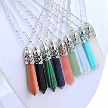 6pcs Mixed Nature Stone Hexagonal Crystal Necklace Pendant Silver Chain Howlite Mixed Crystal Gift For Women Jewelry Accessories