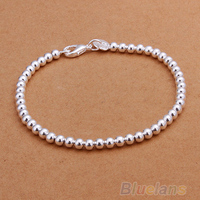 Bluelans 24 pieces/set Women Silver Plated Fashion Jewelry Charms 4mm Beads Bracelet Bangle Xmas Gift
