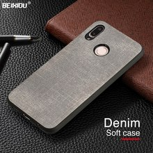 "Luxury Denim Leather Canvas Case For Huawei P20 lite Phone Cover Business Cloth Soft Back Cover for Huawei P20 lite 5.84""(China)"