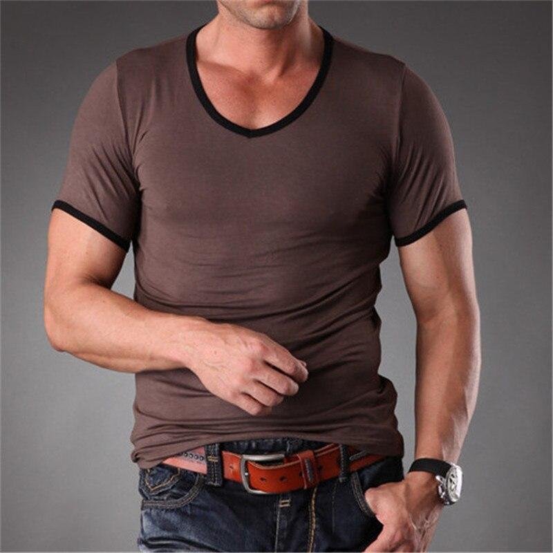 bc74d8d3 High Quality Bamboo Fiber Plain Blank T Shirt For Men V Neck Slim Fit  Workout Tops 2019 New Mens Clothes MT-1351