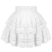 Summer Boho Skirt Women 2019 Sexy High Waist Short White Hollow Out Lace